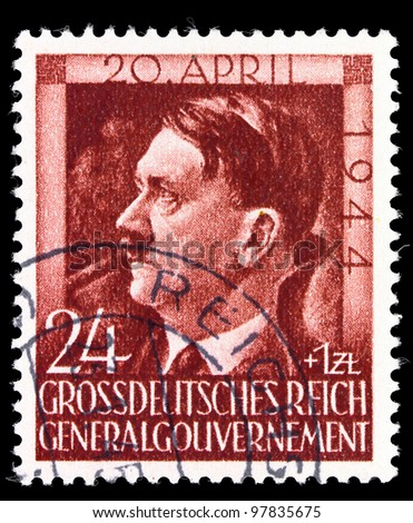 GERMANY - CIRCA 1944: A stamp printed in Germany shows image of Adolf Hitler, circa, 1944 - stock photo