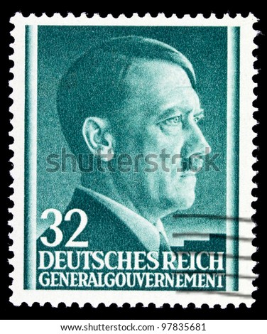 GERMANY - CIRCA 1943: A stamp printed in Germany shows image of Adolf Hitler, circa, 1943 - stock photo