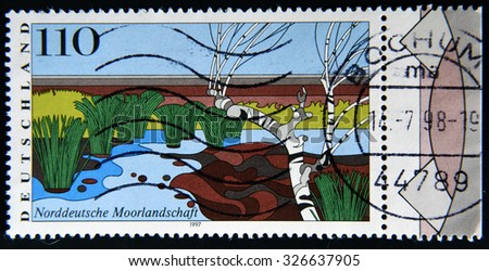 GERMANY - CIRCA 1997: a stamp printed in Germany shows North German Moorland, Scenic Region, circa 1997