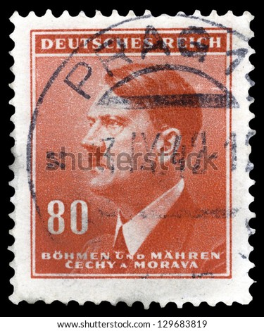"""GERMANY - CIRCA 1937: A stamp printed in Germany shows Portrait of Adolf Hitler (Nazi war criminal and former leader of the Nazi Party), without inscription, from the series """"Adolf Hitler"""", circa 1937 - stock photo"""