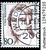 "GERMANY - CIRCA 1986: A stamp printed in Germany shows portrait of Clara Schumann (1819 - 1896, pianist, composer), with the same inscription, series ""Famous women"", circa 1986 - stock photo"