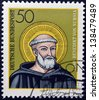 GERMANY - CIRCA 1980: a stamp printed in Germany shows St. Benedict of Nursia, circa 1980 - stock photo