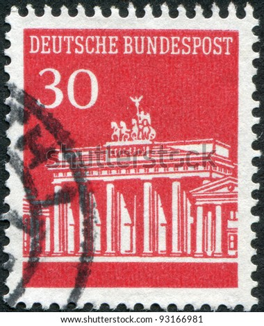 GERMANY - CIRCA 1966: A stamp printed in Germany, shows the Brandenburg Gate, circa 1966