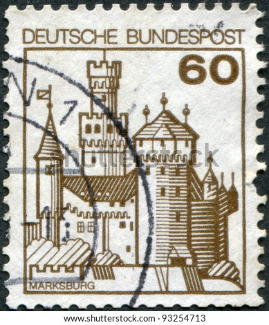 GERMANY - CIRCA 1977: A stamp printed in Germany, shows the fortress Marksburg, circa 1977 - stock photo