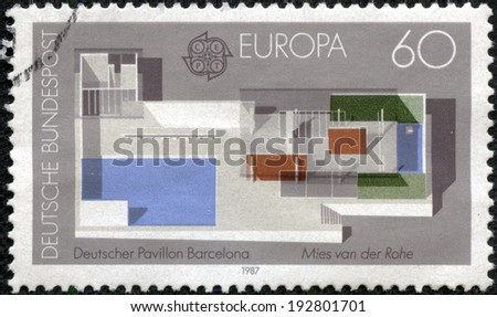 GERMANY - CIRCA 1987: A stamp printed in Germany shows the German Pavilion, designed by Ludwig Mies van der Rohe, 1928 World's Fair, Barcelona, circa 1987 - stock photo