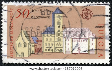 GERMANY - CIRCA 1978: A stamp printed in Germany, shows the old Town Hall, Regensburg, circa 1978 - stock photo