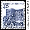 "GERMANY - CIRCA 1965: A stamp printed in Germany shows Trifels Fortress, Palatinate, with the same inscription, from the series ""German buildings through 12 century"", circa 1965 - stock photo"