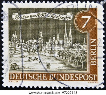 GERMANY - CIRCA 1963: a stamp printed in Germany  shows View of Old Berlin, 1650, circa 1963