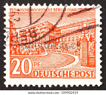 GERMANY - CIRCA 1949: a stamp printed in the Germany, Berlin shows Polytechnic College, Charlottenburg, Berlin, circa 1949