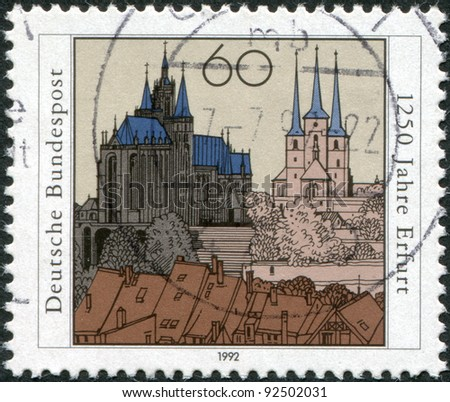 GERMANY - CIRCA 1992: A stamp printed in the Germany, dedicated to the anniversary of the 1250 Erfurt, Capital of Thuringia, shows the cathedral, Severikirche and the old town, circa 1992