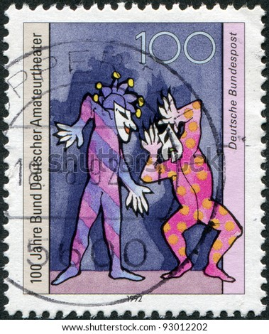 GERMANY - CIRCA 1992: A stamp printed in the Germany, dedicated to the 100th anniversary of the Federation of German Amateur Theaters, circa 1992