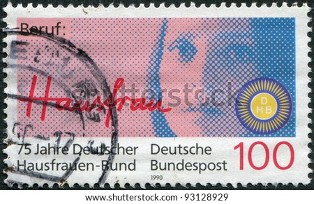 GERMANY - CIRCA 1990: A stamp printed in the Germany, dedicated to the 75th anniversary of the German Association of Housewives, circa 1990
