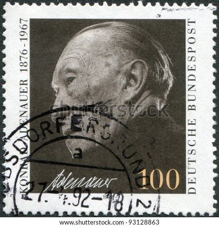 GERMANY - CIRCA 1992: A stamp printed in the Germany, is shown Chancellor Konrad Adenauer, circa 1992