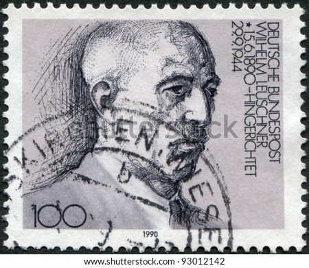 GERMANY - CIRCA 1990: A stamp printed in the Germany, is shown Wilhelm Leuschner, circa 1990