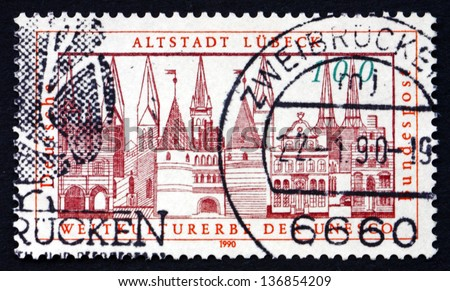GERMANY - CIRCA 1990: a stamp printed in the Germany shows Addition of Lubeck to the UNESCO World Heritage List, circa 1990 - stock photo