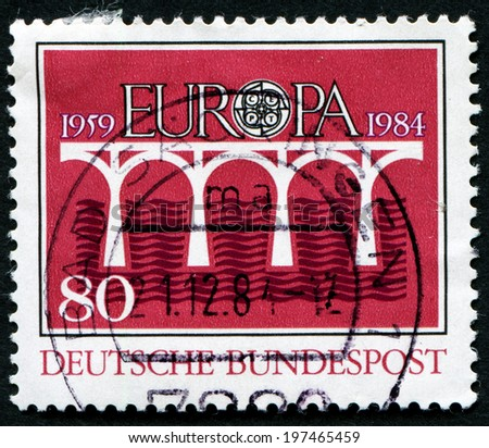 GERMANY - CIRCA 1984: A stamp printed in the Germany shows Bridge over Water, Europe, circa 1984 - stock photo