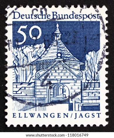 GERMANY - CIRCA 1967: a stamp printed in the Germany shows Castle Gate, Ellwangen, Jagst, circa 1967