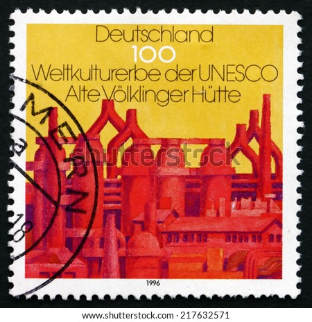 GERMANY - CIRCA 1996: a stamp printed in the Germany shows Closed Blast Furnace, Volklingen, UNESCO World Cultural Heritage, circa 1996 - stock photo