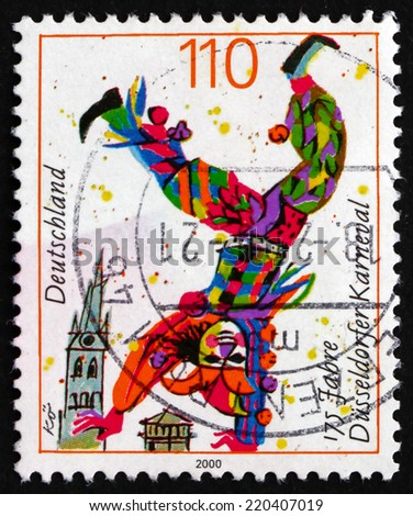 GERMANY - CIRCA 2000: a stamp printed in the Germany shows Clown, Dusseldorf Carnival, 175th Anniversary, circa 2000 - stock photo