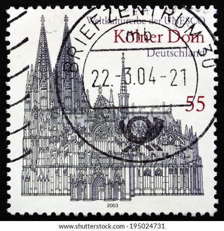 GERMANY - CIRCA 2003: a stamp printed in the Germany shows Cologne Cathedral, UNESCO World Heritage Site, circa 2003 - stock photo