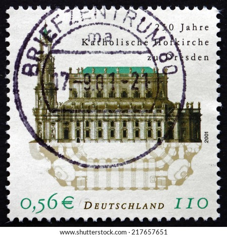 GERMANY - CIRCA 2001: a stamp printed in the Germany shows Dresden Cathedral, Cathedral of the Holy Trinity, Catholic Court Church, Dresden, 250th Anniversary, circa 2001 - stock photo