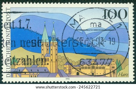 GERMANY - CIRCA 1993: a stamp printed in the Germany shows Harz Mountains, Scenic Region in Germany, circa 1993 - stock photo
