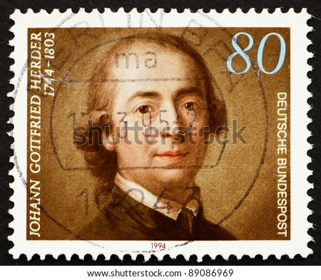 GERMANY - CIRCA 1994: A stamp printed in the Germany shows Johann Gottfried Herder, Theologian, circa 1994