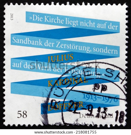 GERMANY - CIRCA 2013: a stamp printed in the Germany shows Julius Kardinal Dopfner, Birthday Centenary, circa 2013 - stock photo