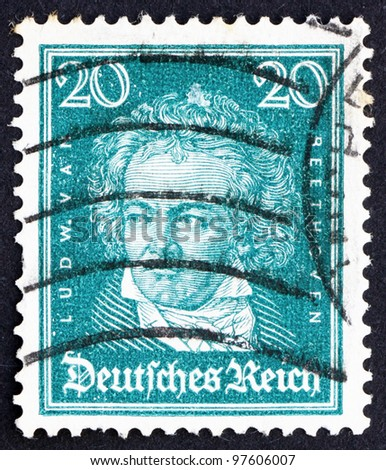 GERMANY - CIRCA 1926: A stamp printed in the Germany shows Ludwig van Beethoven, Composer, circa 1926 - stock photo