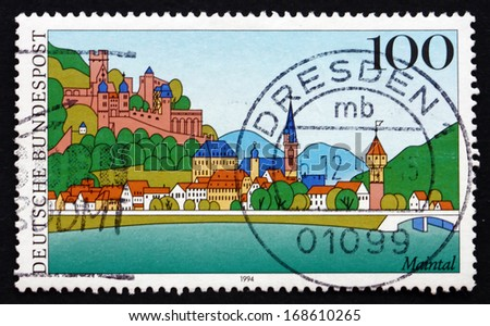 GERMANY - CIRCA 1994: a stamp printed in the Germany shows Main River Valley, Scenic Region in Germany, circa 1994 - stock photo
