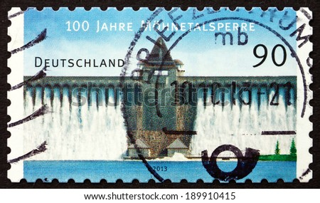 GERMANY - CIRCA 2013: a stamp printed in the Germany shows Mohne Reservoir, Artificial Lake in North Rhine-Westphalia, Centenary, circa 2013