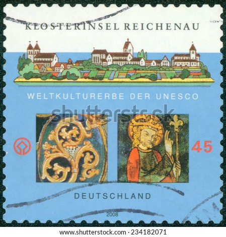 GERMANY - CIRCA 2008: a stamp printed in the Germany shows Monastic Island of Reichenau, is an Island in Lake Constance in Southern Germany, circa 2008 - stock photo