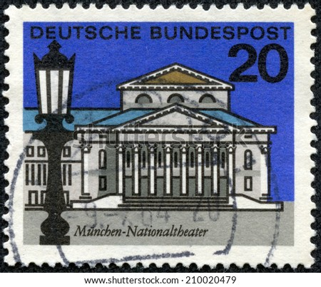GERMANY - CIRCA 1964: a stamp printed in the Germany shows National Theater, Munich, circa 1964 - stock photo