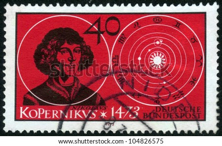 GERMANY - CIRCA 1973: a stamp printed in the Germany shows Nicolaus Copernicus, Renaissance Astronomer, circa 1973 - stock photo