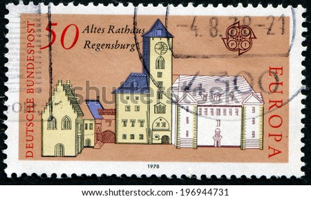 GERMANY - CIRCA 1978: a stamp printed in the Germany shows Old City Hall, Regensburg, circa 1978