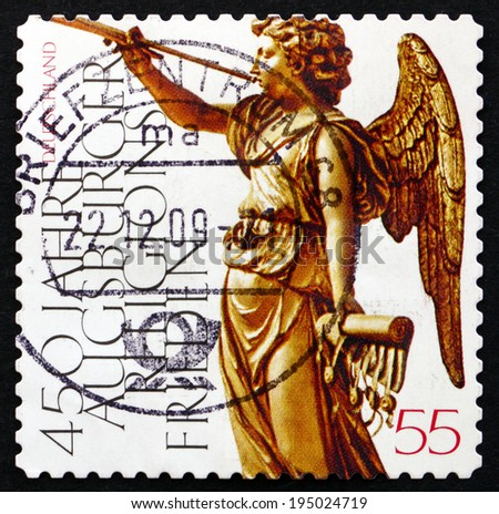 GERMANY - CIRCA 2008: a stamp printed in the Germany shows Peace of Augsburg, 450th Anniversary, circa 2008 - stock photo