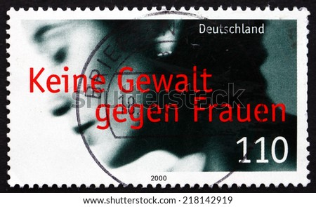 GERMANY - CIRCA 2000: a stamp printed in the Germany shows Prevention of Violence against Women, circa 2000 - stock photo