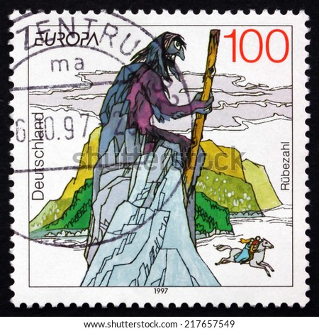 GERMANY - CIRCA 1997: a stamp printed in the Germany shows Rubezahl of Giant Mountains, Folklore Mountain Spirit, Subject of Many Legends and Fairy Tales, circa 1997 - stock photo