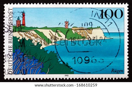 GERMANY - CIRCA 1993: a stamp printed in the Germany shows Rugen Island, Scenic Region in Germany, circa 1993 - stock photo