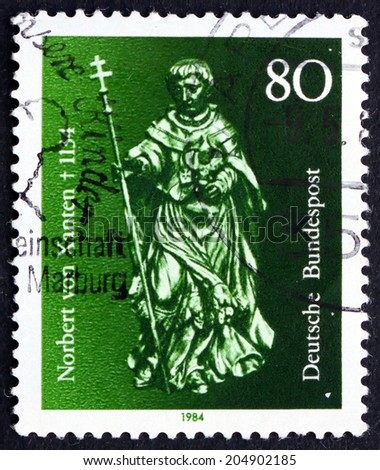 GERMANY - CIRCA 1984: a stamp printed in the Germany shows St. Norbert von Xanten, was a Bishop of Catholic Church, circa 1984