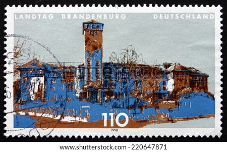 GERMANY - CIRCA 1998: a stamp printed in the Germany shows State Parliament of Brandenburg, Potsdam, circa 1998 - stock photo