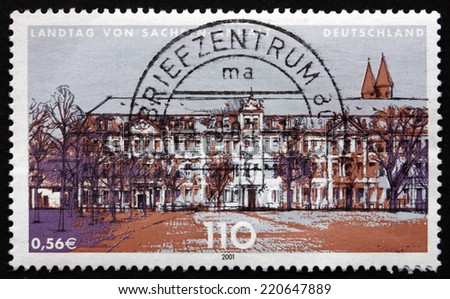 GERMANY - CIRCA 2001: a stamp printed in the Germany shows State Parliament of Saxony-Anhalt, Magdeburg, circa 2001 - stock photo