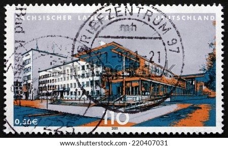 GERMANY - CIRCA 2001: a stamp printed in the Germany shows State Parliament of Saxony, Dresden, circa 2001 - stock photo