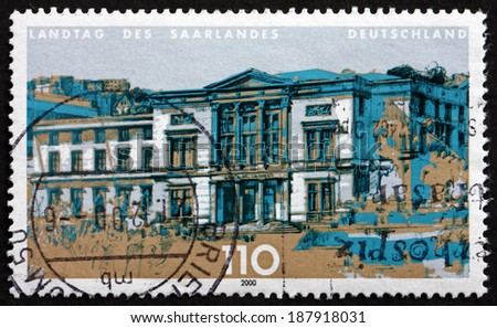 GERMANY - CIRCA 2000: a stamp printed in the Germany shows The Landtag of Saarland, is the State Diet of the German Federal State of Saarland, circa 2000 - stock photo