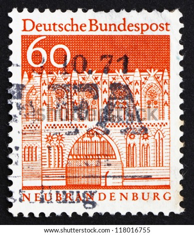 GERMANY - CIRCA 1967: a stamp printed in the Germany shows Treptow Gate, Neubrandenburg, circa 1967