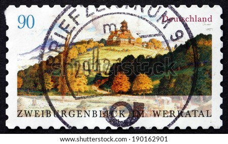 GERMANY - CIRCA 2011: a stamp printed in the Germany shows Two-castles-view (Zweiburgenblick), in the Werratal, Hanstein and Ludwigstein, circa 2011