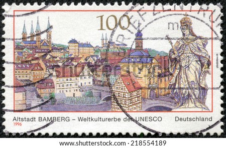GERMANY - CIRCA 1996: a stamp printed in the Germany shows View of Bamberg, Old Town, Town in Bavaria, UNESCO World Cultural Heritage, circa 1996 - stock photo