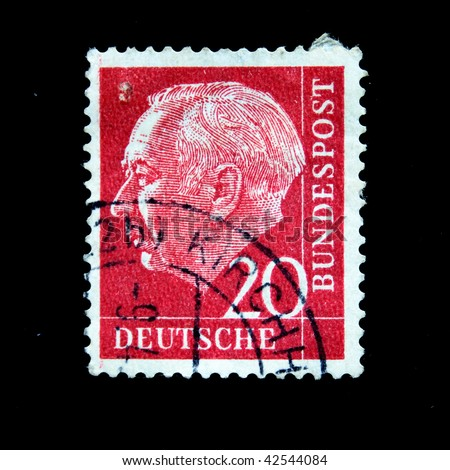 GERMANY-CIRCA 1955: a stamp printed in the Germany Theodor Heuss, circa 1955