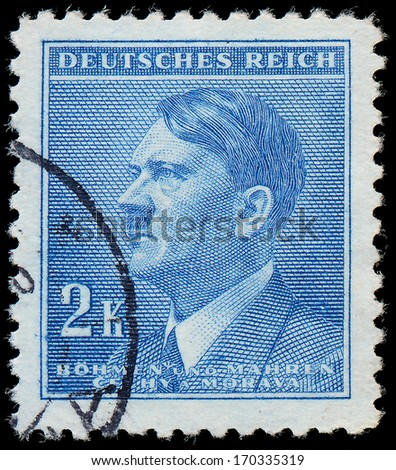 GERMANY - CIRCA 1942: A stamp printed in The Protectorate Czech and Moravia shows portrait of Adolf Hitler, series, circa 1942  - stock photo