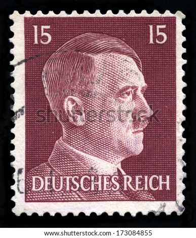 GERMANY - CIRCA 1942: A vintage German Reich Postage Stamp portraying an image Adolf Hitler, circa 1942. - stock photo